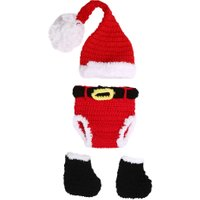 Baby Newborn Photography Props Accessories Crochet Knitted Santa Claus Hats for Children Girls Babies Christmas Props Fotografia