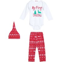 Cute Newborn Baby Boy Girls My First Christmas Clothes Romper Pants Hat Outfit Babies Sets Cotton Clothing 0-18M