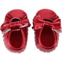 Newborn Babies PU leather Tassel Bowknot Soft Sole First Walker(Red 13)