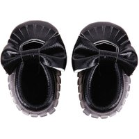 Newborn Babies PU leather Tassel Bowknot Sole First Walker(Black 11)
