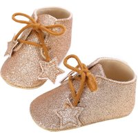 Stars Shining Baby Lace-up Babies Shoes Soft  Prewalkers(Gold)(13cm)